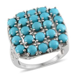 Arizona Sleeping Beauty Turquoise (Rnd) Cluster Ring in Platinum Overlay Sterling Silver 4.750 Ct.