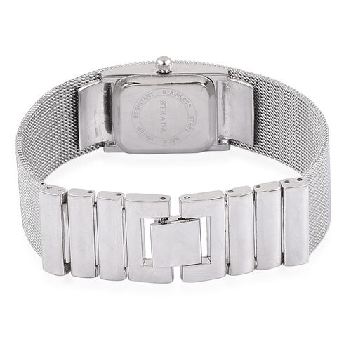 STRADA Japanese Movement Sunshine Pattern Dial Water Resistant Watch in Silver Tone with Stainless Steel Back