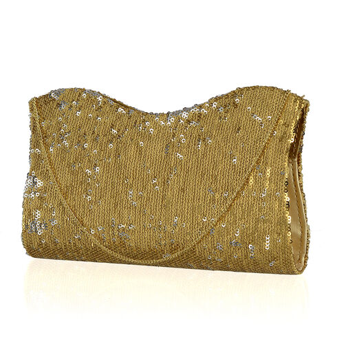 Golden Colour Satin Clutch Bag with Golden Sequins and Chain Strap (Size 21x10 Cm)
