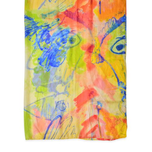 100% Mulberry Silk Yellow, Blue and Multi Colour Scarf (Size 180X110 Cm)