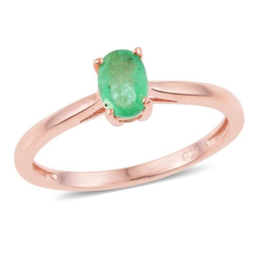 Kagem Zambian Emerald (Ovl) Solitaire Ring in Rose Gold Overlay Sterling Silver 0.500 Ct.