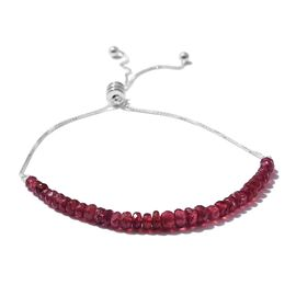 African Ruby Adjustable Bolo Bracelet Bolo Bracelet (Size 6.5 to 8.5) in Sterling Silver 15.000 Ct.