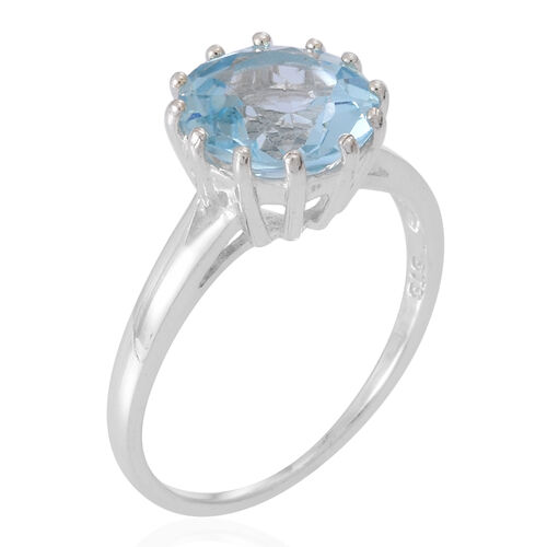 Sky Blue Topaz (Rnd) Solitaire Ring in Sterling Silver 4.500 Ct.
