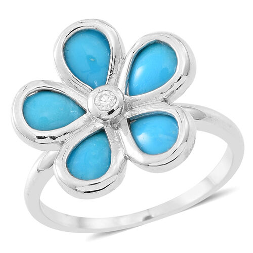 Arizona Sleeping Beauty Turquoise (Pear), White Zircon Floral Ring in Rhodium Plated Sterling Silver 2.750 Ct.
