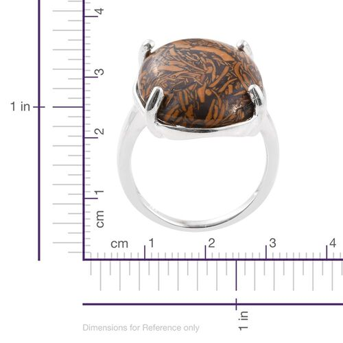Very Rare Size Natural Honey Jasper (Ovl) Solitaire Ring in Sterling Silver 15.000 Ct.