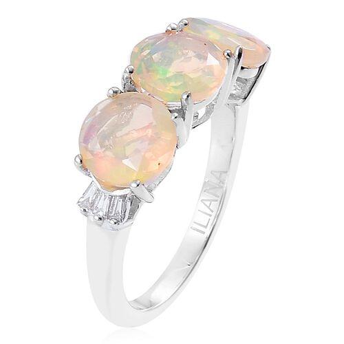 ILIANA 18K W Gold AAA Ethiopian Welo Opal (Rnd), Diamond (SI/G-H) Ring 2.500 Ct.