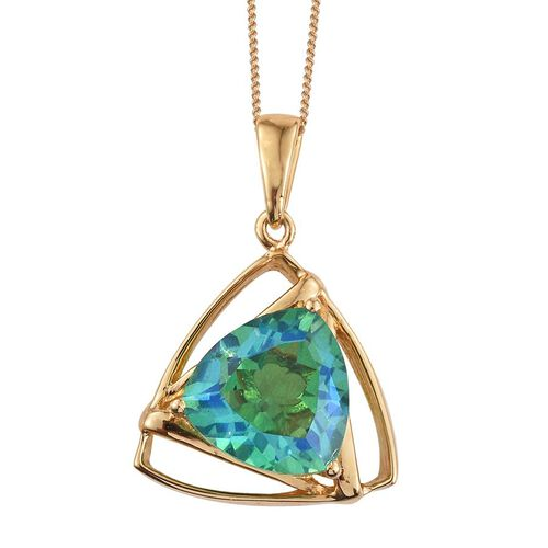 Peacock Quartz (Trl) Solitaire Pendant with Chain in 14K Gold Overlay Sterling Silver 5.500 Ct.
