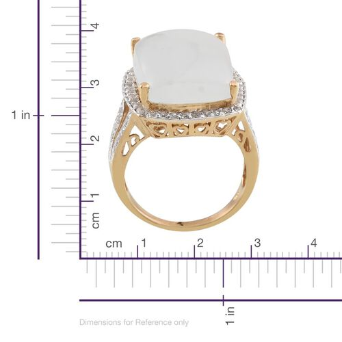 Espirito Santo Aquamarine (Cush 20.00 Ct), White Topaz Ring in 14K Gold Overlay Sterling Silver 21.000 Ct.