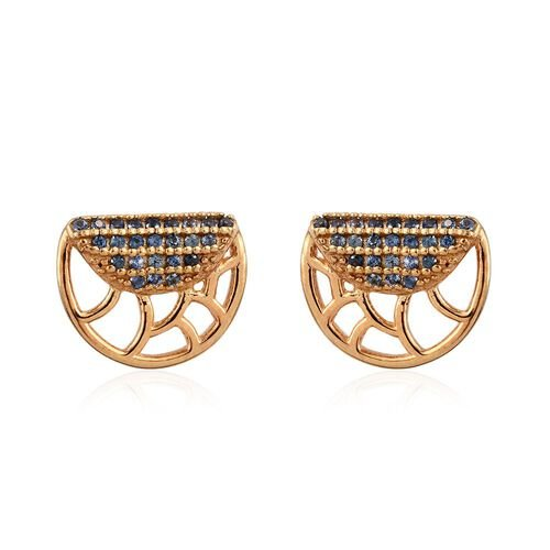 Madagascar Blue Sapphire Silver Stud Earrings (with Push Back) in Gold Overlay