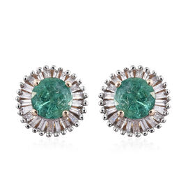 One Time Deal - 9K Y Gold AA Boyaca Colombian Emerald (Rnd), Diamond Stud Earrings (with Push Back) 1.000 Ct.
