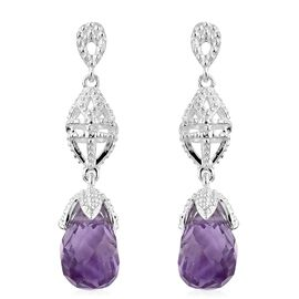 Rose De France Amethyst Earrings (with Push Back) in Sterling Silver 5.000 Ct.