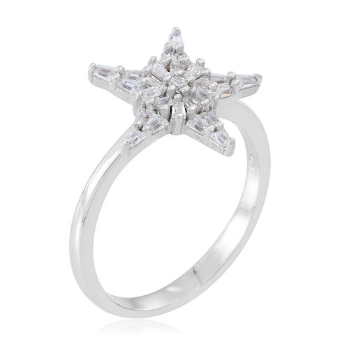 Signature Collection ELANZA AAA Simulated White Diamond (Rnd) Star Ring in Rhodium Plated Sterling Silver