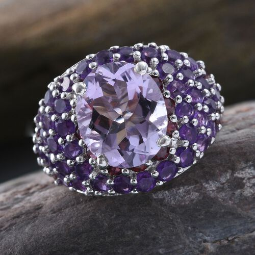 Designer Inspired-Rose De France Amethyst (Ovl), Amethyst and Rhodolite Garnet Ring in Platinum Overlay Sterling Silver 8.250 Ct.