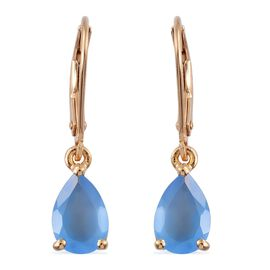 Namibian Blue Chalcedony 2 Carat Silver Lever Back Earrings in 14K Gold Overlay