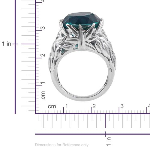 Capri Blue Quartz (Rnd) Ring in Platinum Overlay Sterling Silver 10.500 Ct.