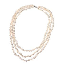 Designer Hand Knotted 9K White Gold AAA Japanese Akoya Pearl (4-5 mm) 3 Strand Necklace (Size 18-24 inch)