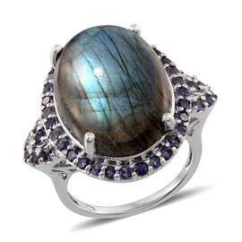 Labradorite (Ovl 18.15 Ct), Iolite Ring in Platinum Overlay Sterling Silver 20.000 Ct.