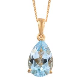 Sky Blue Topaz (Pear) Solitaire Pendant with Chain in 14K Gold Overlay Sterling Silver 3.750 Ct.