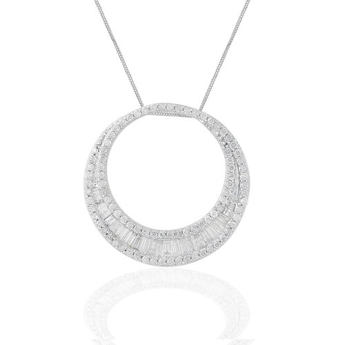 Limited Edition - 9K White Gold SGL Certified Diamond (Bgt) (I3/G-H) Crescent Moon Pendant With Chain 1.000 Ct. Number of Diamonds 118
