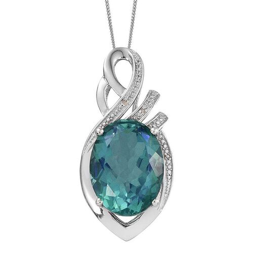 Peacock Quartz (Ovl 15.00 Ct), Diamond Pendant With Chain in Platinum Overlay Sterling Silver 15.020 Ct.