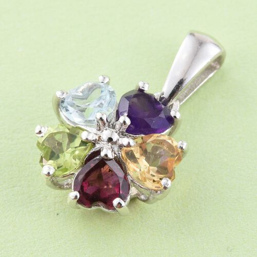 Amethyst (Hrt), Hebei Peridot, Citrine, Rhodolite Garnet and Sky Blue Topaz Floral Pendant in Platinum Overlay Sterling Silver 2.500 Ct.
