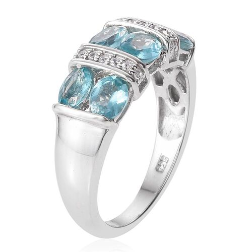 Paraiba Apatite (Ovl), Natural Cambodian Zircon Ring in Platinum Overlay Sterling Silver 2.250 Ct.