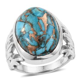 One Time Deal- Rare Size Mojave Blue Turquoise (Ovl) Ring in Sterling Silver 16.350 Ct, Silver wt 8.00 Gms.