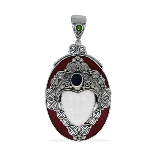 Princess Bali Collection OX Bone Carved Face, Amethyst, Russian Diopside and Sponge Coral Pendant in Sterling Silver 35.000 Ct.Sterling Silver Wt 12.90 Grams