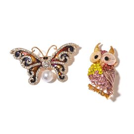 Set of 2 - Simulated White Pearl, Black, White and Multi Colour Austrian Crystal Enameled Butterfly and Owl Brooch in Yellow Gold Tone
