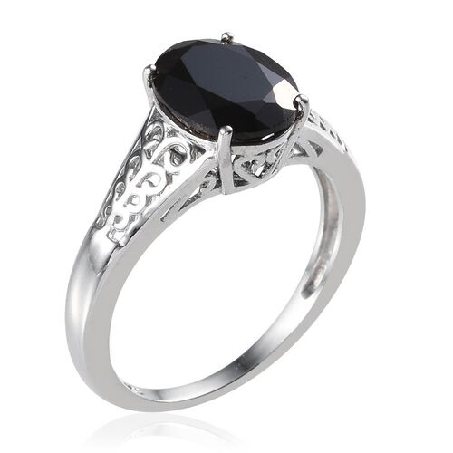 Boi Ploi Black Spinel (Ovl) Solitaire Ring in Platinum Overlay Sterling Silver 4.000 Ct.