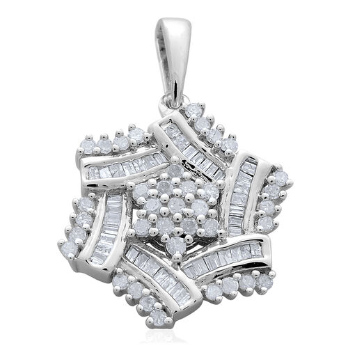 Limited Edition Diamond (Rnd G-H) Floral Pendant in Platinum Overlay Sterling Silver 0.500 Ct.