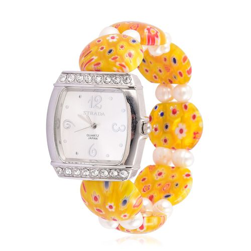 STRADA Japanese Movement White Sunshine Dial with White Austrian Crystal Water Resistant Watch in Silver Tone with Yellow Murano Glass and Fresh Water White Pearl Strap