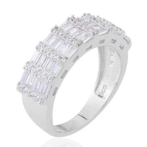 ELANZA AAA Simulated White Diamond (Rnd and Bgt) Ring in Rhodium Plated Sterling Silver