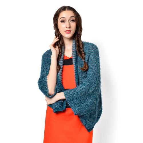 Green and Grey Colour Knitted Kimono (Free Size)