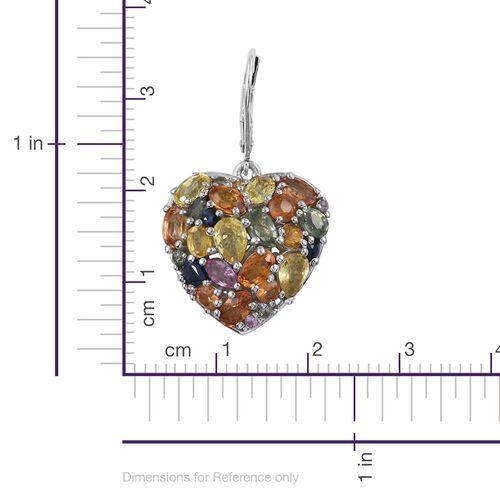 Orange Sapphire (Ovl), Green Sapphire, Yellow Sapphire, Kanchanaburi Blue Sapphire and Multi Gemstone Lever Back Heart Earrings in Platinum Overlay Sterling Silver 10.000 Ct.