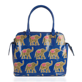 100% Genuine Leather Blue and Beige Colour Handpainted Elephant RFID Blocker Tote Bag with External Zipper Pocket (Size 35x32x28x14 Cm)