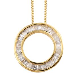 Diamond (Bgt) Circle of Life Pendant With Chain in 14K Gold Overlay Sterling Silver 0.500 Ct.