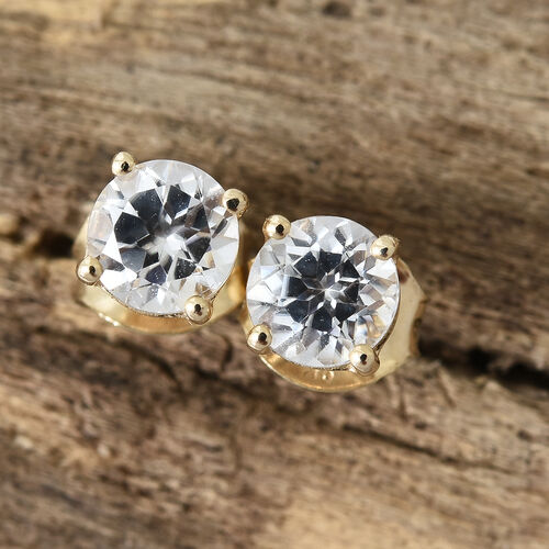 9K Yellow Gold 1.50 Ct AA Natural White Cambodian Zircon Stud Earrings (with Push Back)
