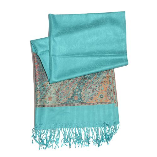 SILK MARK - 100% Superfine Silk Multi Colour Floral and Leaves Pattern Larimar Colour Jacquard Jamawar Shawl with Fringes (Size 180x70 Cm) (Weight 125-140 Grams)