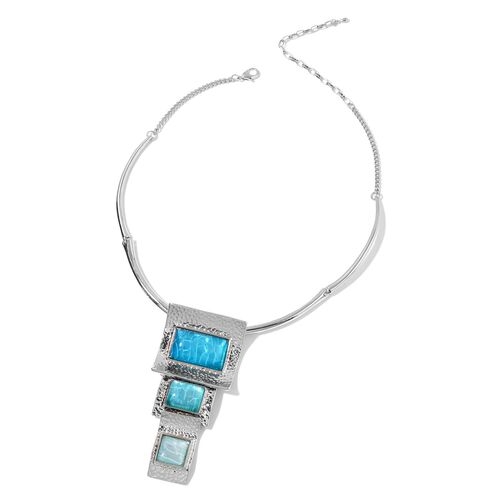 Oceanic Colour Effect Egyptian Style Necklace (Size 16 with 3 inch Extender) and Earrings (with French Clip) in Silver Tone