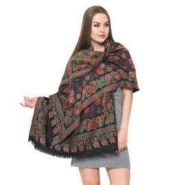 100% Merino Wool Multi Colour Floral Pattern Black Colour Scarf (Size 200x70 Cm)