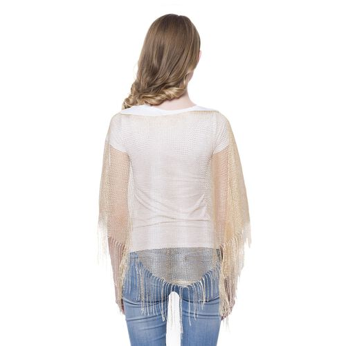 Golden Colour Net Poncho (Size 150x45 Cm) and White Colour Vest (Size 60x55 Cm)