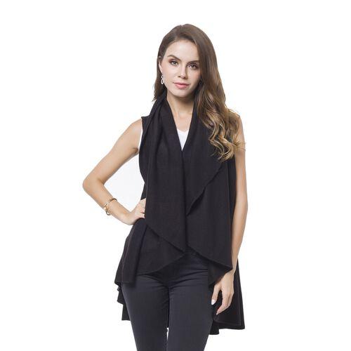 Black Colour Fold Over Collar Cape (Free Size)
