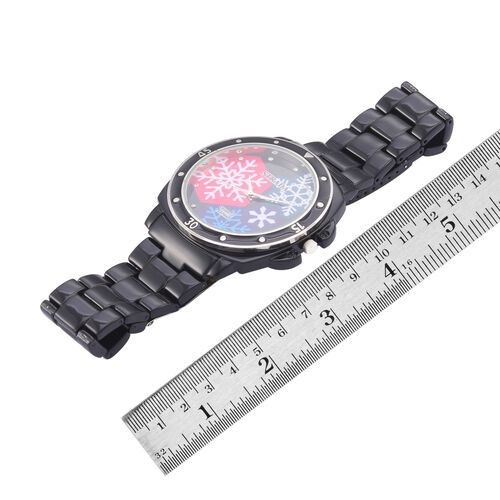 STRADA Japanese Movement White Austrian Crystal Studded Black Snowflake Dial Water Resistant Watch in Silver Tone with Stainless Steel Back and Black Strap
