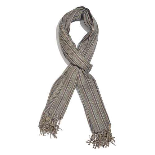 100% Merino Wool Olive Green, Brown and Multi Colour Stripes Pattern Scarf with Tassels (Size 210X95 Cm)