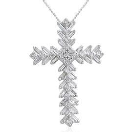 Diamond (Bgt and Rnd) Cross Pendant in Platinum Overlay Sterling Silver 0.500 Ct.