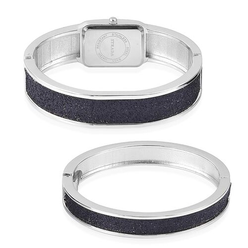 STRADA Japanese Movement Black Stardust Watch and Bangle Set (Size 7.5)