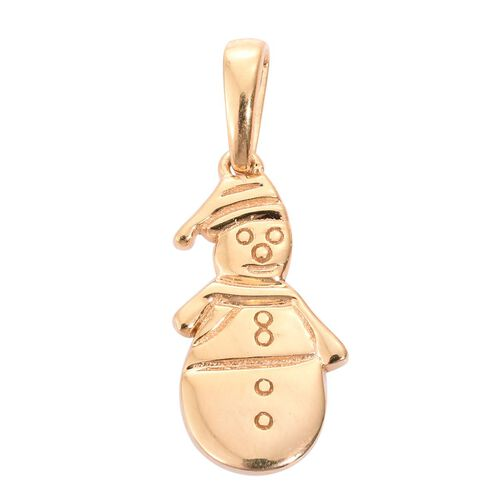 Set of 2 Snowman Silver Charm Pendant in 14K Gold Overlay