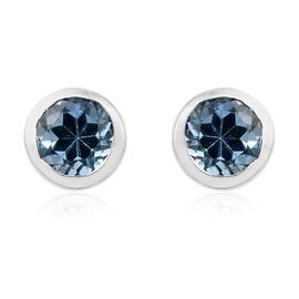 One Time Offer-Santa Maria Aquamarine (Rnd) Stud Earrings (with Push Back) in Platinum Overlay Sterling Silver