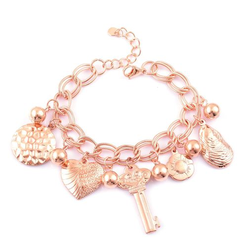 One Time Deal-Rose Gold Stainless Steel Double Link Curb Bracelet (Size 8 with 2 inch Extender) with Multi Charms